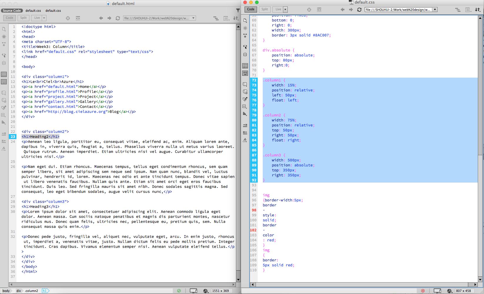 Web Design Practice – HTML Draft – S\'envoler dans le ciel azuré